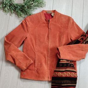RUFF HEWN rust orange suede jacket L
